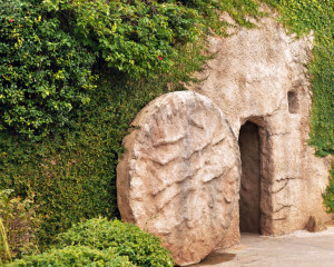 The entrance of a replica of the tomb where Jesus was buried with the stone rolled away.